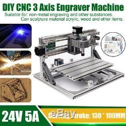 130 100 40Mm Diy Cnc 3 Axis Engraver Machine Pcb Milling Wood Carving Router