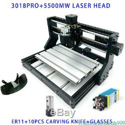 3 Axis CNC3018pro DIY Router Kit Wood Engraving Milling 10000r/min &5500mw Laser