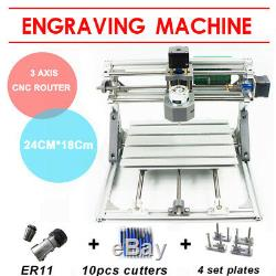 3 Axis DIY CNC 2418 Wood Engraving Carving PCB Milling Machine Router Engraver