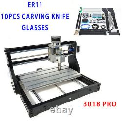 3-Axis Metal CNC 3018 Machine Router 2IN1 Laser Engraving PCB Wood DIY Milling