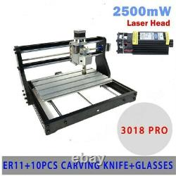 3 Axis PRO 3018 CNC Machine Router Engraving PCB Wood DIY Mill+2500mw Laser Tool
