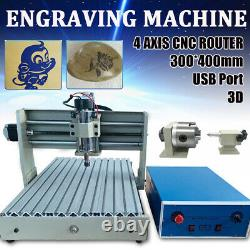 4 Axis 3040 CNC Router USB Port Engraver Kit DIY Wood Engraving Carving Machine