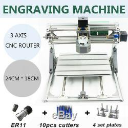 CNC 2418 ER11 DIY Router CNC Machine Wood Carving, work area 24x18 3 Axis Pcb Kit