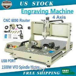 USB 4Axis CNC 6090 Router Milling Engraving DIY CNC Cutting Machine USA NEW