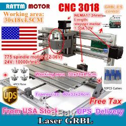 US 3 Axis DIY Mini 3018 GRBL Control CNC Laser Machine Milling Wood Router Kit